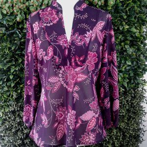 New York & Company Burgundy Floral Blouse …